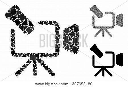 Camcorder Mosaic Of Bumpy Pieces In Various Sizes And Color Hues, Based On Camcorder Icon. Vector Bu