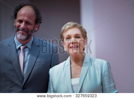 Luca Guadagnino poses with Dame Julie Andrews before she is awarded the Golden Lion for Lifetime Achievement during the 76th Venice Film Festival at Sala Grande on September 02, 2019 in Venice, Italy.