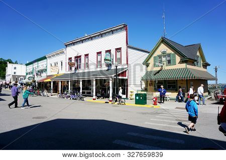 Mackinac Island, Michigan / United States - June 11, 2018: One May Eat Hamburgers At Mighty Mac Hamb