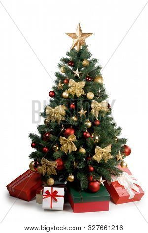 Decorative Christmas Tree isolated on white background