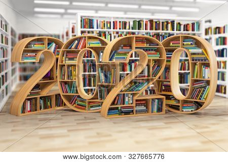 2020 new year education concept. Bookshelves with books in the form of text 2020 in school library. 3d illustration