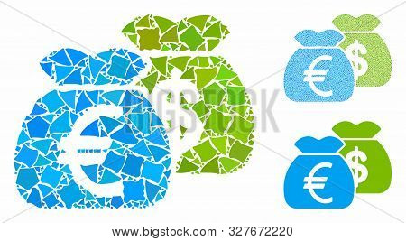 Funds Mosaic Of Joggly Items In Variable Sizes And Color Tints, Based On Funds Icon. Vector Humpy It