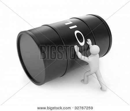Person push oil barrel. Image contain clipping path