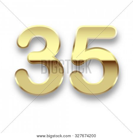 illustration Gold date 35 isolated on white background. Birthday symbol