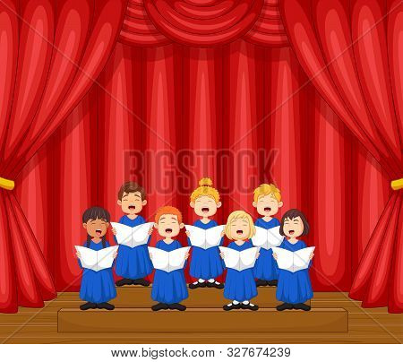 Vector Illustration Of Choir Children Singing A Song On The Stage
