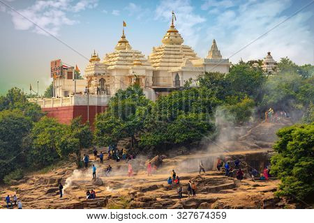 BHUBANESWAR, INDIA, JANUARY 11, 2019 : Overview of the Khandagiri Jain temple, located at the top of a hill near Bhubaneswar in India
