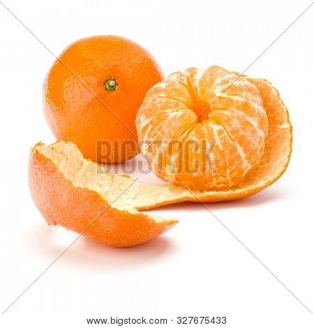 Peeled tangerine or mandarin fruit isolated over white background cutout.