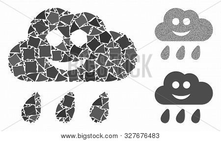 Happy Rain Cloud Composition Of Abrupt Parts In Various Sizes And Color Tinges, Based On Happy Rain