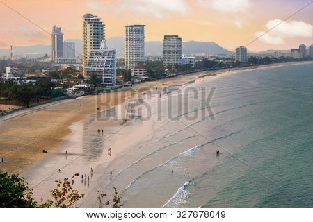Hua Hin modern building and bay overview at sunset, Thailand
