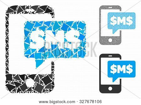 Phone Sms Mosaic Of Irregular Elements In Different Sizes And Color Tinges, Based On Phone Sms Icon.