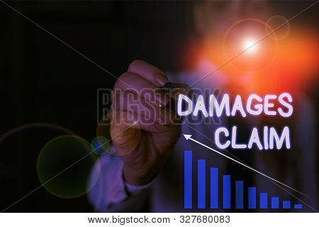 Writing note showing Damages Claim. Business photo showcasing Deanalysisd Compensation Litigate Insurance File Suit Woman wear formal work suit presenting presentation using smart device. poster