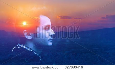 Double Multiply Exposure Portrait Of A Dreamy Cute Man Face Outdoors, Combined Photograph Of Nature,