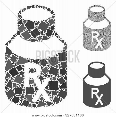 Mixture Bottle Mosaic Of Rough Elements In Different Sizes And Shades, Based On Mixture Bottle Icon.