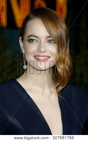 actress Emma Stone at the Los Angeles premiere of 'Zombieland Double Tap' held at the Regency Village Theatre in Westwood, USA on October 10, 2019.