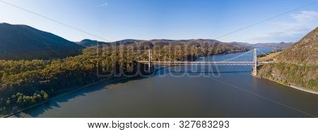 Aerial panorama of the Hudson River Valley of New York during autumn.