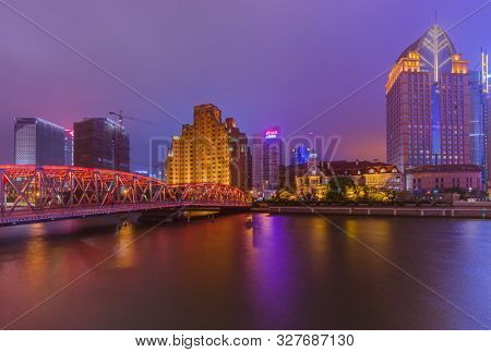 Shanghai, China - May 21, 2018: A night view of the colonial embankment skyline in Shanghai, China.