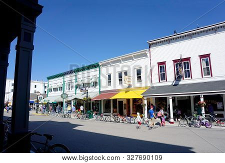 Mackinac Island, Michigan / United States - June 11, 2018: One May Purchase Books And Post Cards At