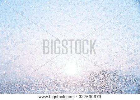 Abstract Winter Background With Copy Space. Winter Texture Of The Frosty Patterns. Soft Focus And Su