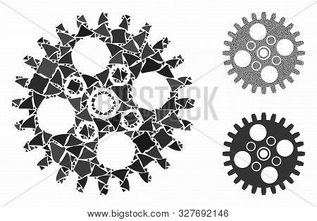 Cogwheel Composition Of Abrupt Pieces In Variable Sizes And Shades, Based On Cogwheel Icon. Vector R