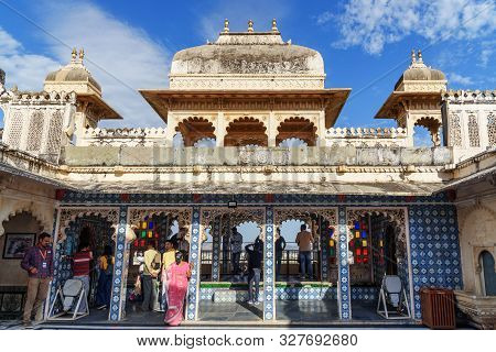 Udaipur, India - February 17, 2019: Courtyard Of City Palace In Udaipur Rajasthan