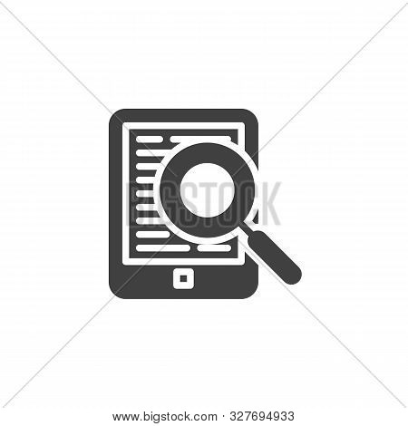 Ebook Reading Vector Icon. E-learning Filled Flat Sign For Mobile Concept And Web Design. E-book Rea