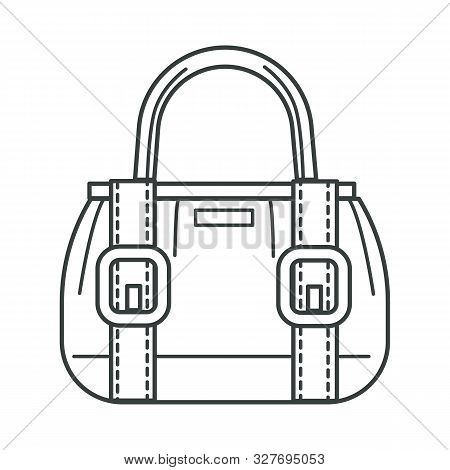 Female Bag With Stripes And Clasps Linear Icon