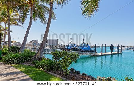 Mackay, Queensland, Australia - October 2019: Two Identical Tugboats Moored At The Marina Port At Ma