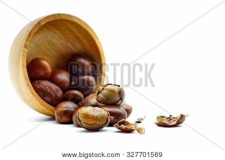Ripe Chestnuts On Bowl Wooden On White Background. Close Up With Copy Space. Roasted Chestnuts