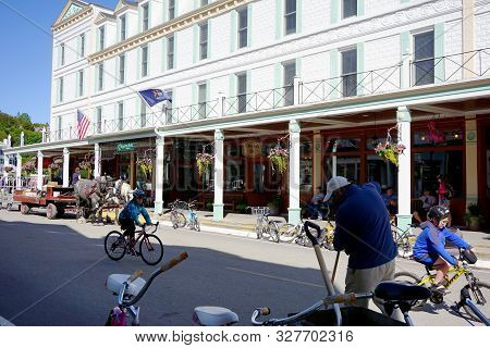 Mackinac Island, Michigan / United States - June 11, 2018: The Chippewa Hotel Waterfront Offers Lodg