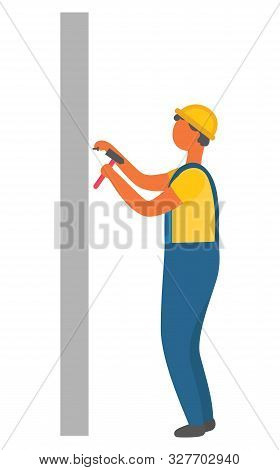 Construction Process, Isolated Character Holding Hammer And Nails. Builder Wearing Protective Unifor