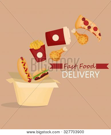 Fast Food Products - Hot Dog, Pizza, Chicken, Burger, French Fries, Coffee - Fall Into A Box. Fast F