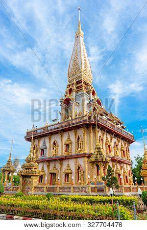 Wat Cha Long Buddhist Temple In Phuket City Thailand.