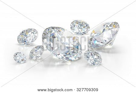 Lots Of Beautiful Diamonds. 3d Image. Light Background.