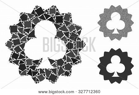 Clubs Token Mosaic Of Unequal Pieces In Various Sizes And Color Tones, Based On Clubs Token Icon. Ve