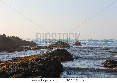 Scenic View Of The Pacific Ocean Beach In Fort Bragg, California, Usa