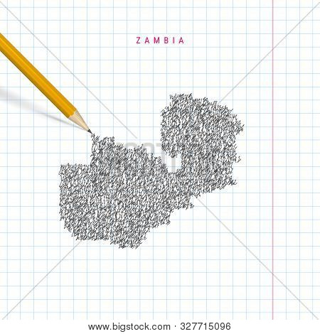 Zambia Sketch Scribble Map Drawn On Checkered School Notebook Paper Background. Hand Drawn Vector Ma