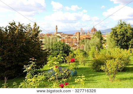 Glimpse View Of Florence Cityscape From Park. Panoramic View Of The City Of Florence With Palazzo Ve