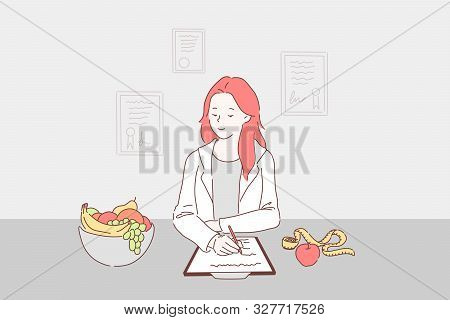 Balanced Diet For Weight Control Concept. Dietitian Writing Healthy Nutrition Plan Including Fresh F