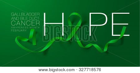 Gallbladder And Bile Duct Cancer Awareness Calligraphy Poster Design. Hope. Realistic Kelly Green Ri