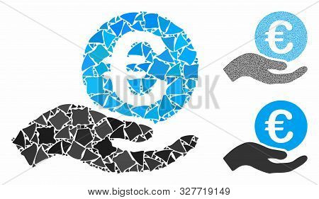 Euro Salary Mosaic Of Abrupt Pieces In Different Sizes And Color Tints, Based On Euro Salary Icon. V