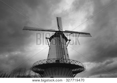 Black And White Photo Of Windmill