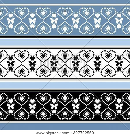 Seamless Valentines Day Hearts Ornamental Pattern Background
