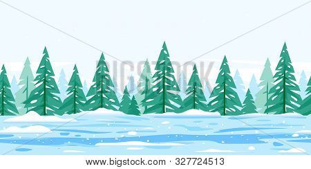 Winter Nature Landscape With Spruce Trees Covered With Snow Tillable Horizontally, Beautiful Winter