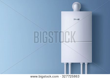 Boiler, Electronic Water Heater Hanging On Blue Wall. Home Plumbing Electric Fixture With Pipes For