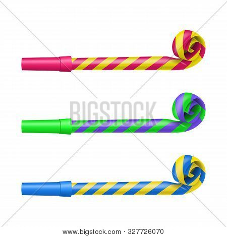 Realistic Detailed 3d Color Party Blower Whistles Set On A White Symbol Of Celebration Happy Party.