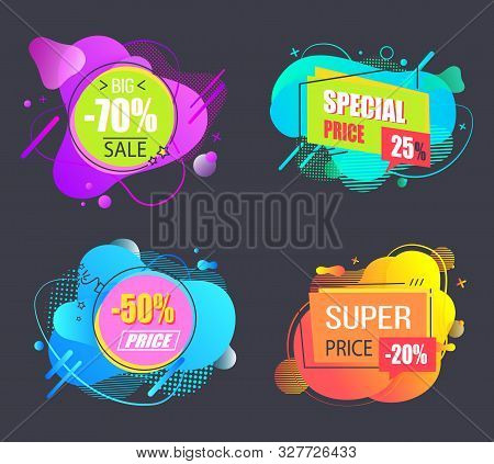Sale Proposition Vector, Isolated Set Of Banners With Abstract Design For Black Friday Sale, 70 Perc