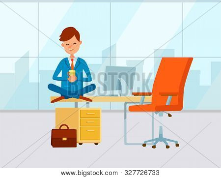 Office Of Businessman, Person Wearing Formal Clothes And Drinking Beverage. Coffee Break Of Director