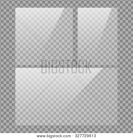 Square, Vertical And 16x9 Panel. Glass Plate Set On Transparent Background. Clear Glass Showcase. Re