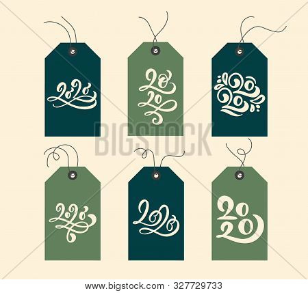 Handwritten Calligraphy Lettering Text 2020. Collection Merry Christmas Vector Gift Tags And Bundle