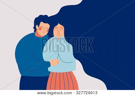 Young Man Comforting Her Crying Best Friend. Depressed Woman Covering Face With Hands And Her Husban
